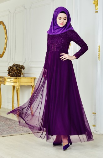 فستان سهرة بتفاصيل لامعة 2593-01 لون بنفسجي 2593-01