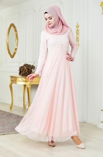 فستان سهرة بتفاصيل لامعة 2593-05 لون وردي 2593-05