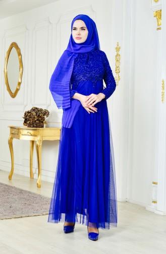 فستان سهرة بتفاصيل من الدانتيل 2538-03 لون ازرق 2538-03