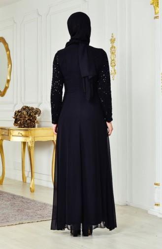 فستان شيفون بتفاصيل من الترتر 52714-03 لون اسود 52714-03