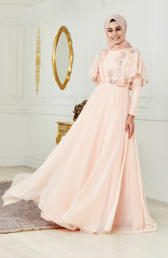 Sequined Evening Dres 1443-01 Salmon 1443-01