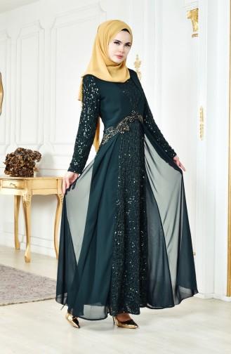 فستان شيفون بتفاصيل من الترتر 52714-04 لون اخضر 52714-04