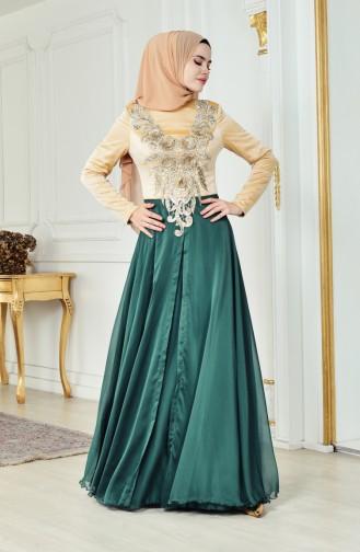 Güpürlü Abiye Elbise 3078-01 Zümrüt Yeşili Bej 3078-01