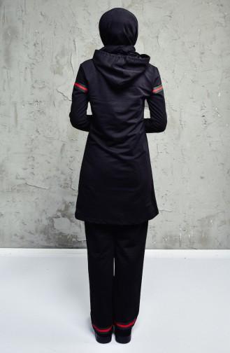 Kapüşonlu Eşofman Takım 1534-02 Siyah