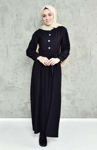 فستان بتصميم حزام للخصر 1652-04 لون اسود 1652-04