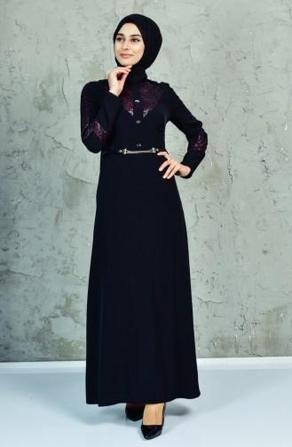 فستان بتصميم حزام للخصر ومخرم 1623858-993 لون اسود وارجواني داكن 1623858-993