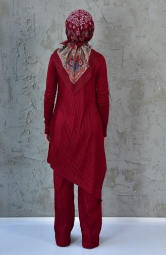 Triko Tunik Pantolon İkili Takım 19321-03 Bordo