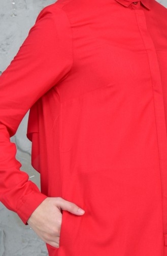 Hidden Button Asymmetrical Tunic 61034-03 Red 61034-03