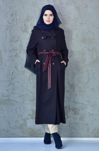 Belted Coat 1729099-803 Navy Blue 1729099-803