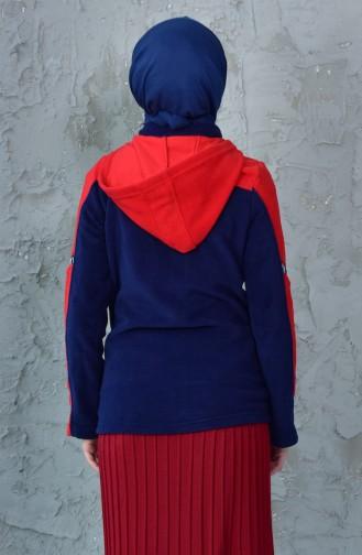 كارديجان صوف بتصميم موصول بقبعة 4122-01 لون كحلي وأحمر 4122-01