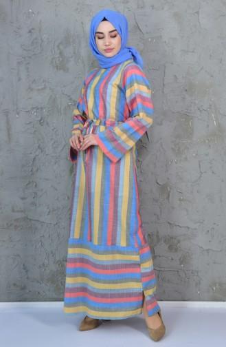 2d0e87371f1c2 Sefamerve, Çizgili Kuşaklı Elbise 4404-02 Turuncu Sarı