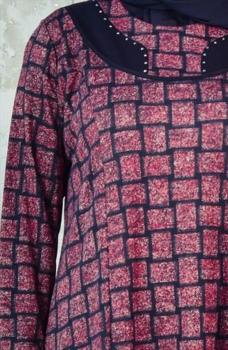 فستان بتصميم مربعات بمقاسات كبيرة 4311-01 لون خمري 4311-01