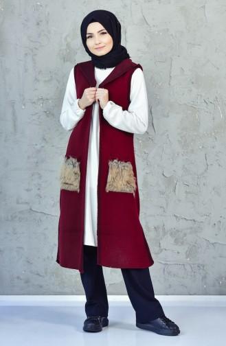 iLMEK Knitwear Pocketed Vest 4084-01 Claret Red 4084-01