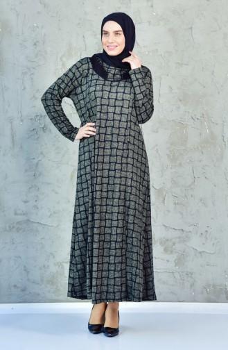 فستان بتصميم مربعات بمقاسات كبيرة4311-05 لون أخضر كاكي 4311-05