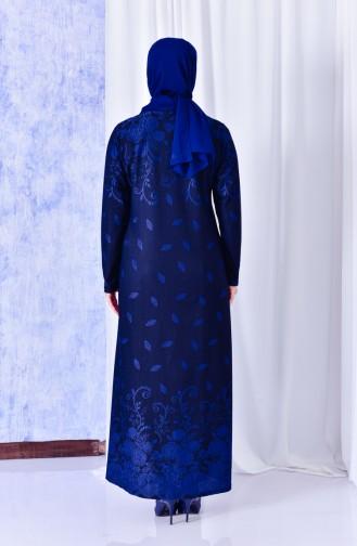 فستان بتصميم مُزخرف ومزين بأحجار لامعة بمقاسات كبيرة 4811-02 لون نيلي 4811-02