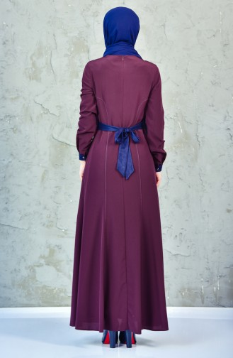 فستان بتصميم حزام للخصر مزين بتفاصيل 1623851-501 لون ارجواني داكن 1623851-501