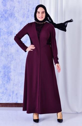 فستان بتفاصيل من الدانتيل 1623864-501 لون ارجواني داكن 1623864-501