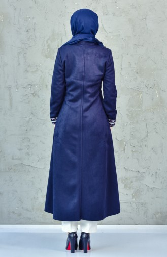 Embroidered Suede Cape 8040-02 Navy Blue 8040-02