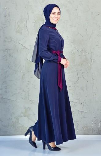 Garnili Kuşaklı Elbise 1623851-803 Lacivert