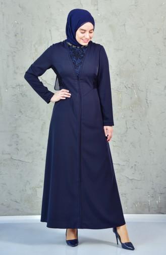 فستان بتفاصيل من الدانتيل 1623864-806 لون كحلي 1623864-806