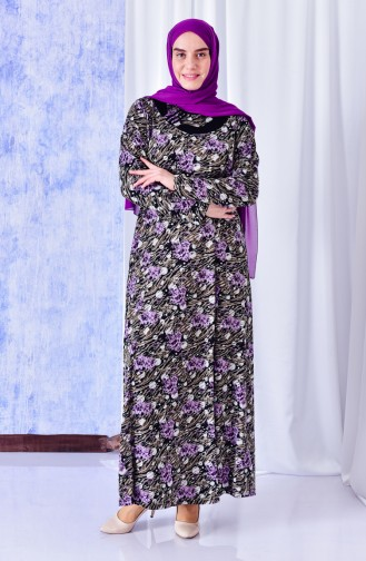 Large Size Pattern Dress 4810-01 Purple 4810-01