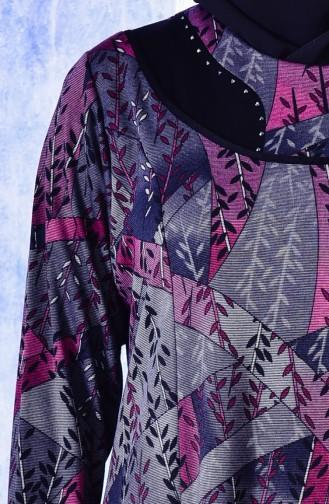 فستان بتصميم مُزخرف مزين بأحجار لامعة بمقاسات كبيرة 4315A-04 لون ارجواني 4315A-04