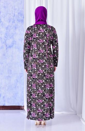 فستان بتصميم مُطبع بمقاسات كبيرة 4810-03 لون ارجواني داكن 4810-03