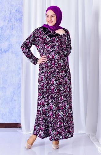 فستان بتصميم مُطبع بمقاسات كبيرة 4810A-05 لون ارجواني 4810A-05