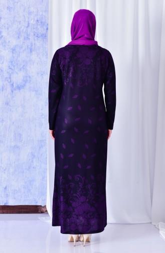 فستان بتصميم مُطبع مزين باحجار لامعة ومقاسات كبيرة 4811-01 لون ارجواني 4811-01