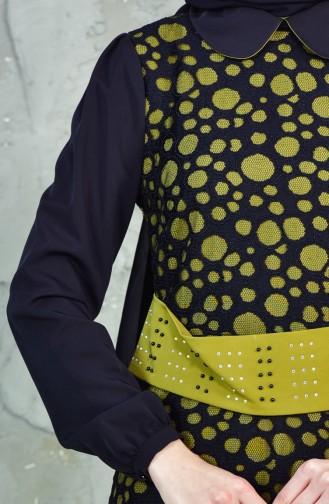 فستان بتصميم مُخطط مُقطع باليزر  1623868-900 لون اسود واخضر فستقي 1623868-900