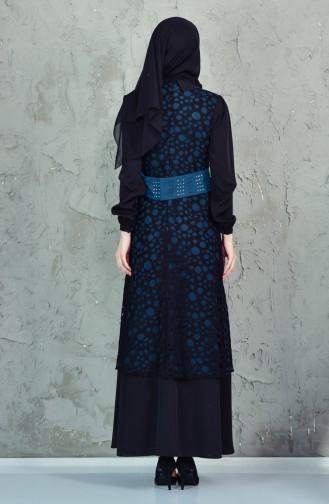 فستان بتصميم مُخطط مُقطع باليزر 1623868-107 لون اسود وبنرولي 1623868-107