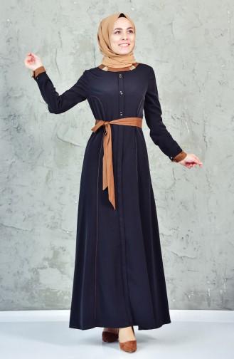 فستان بتصميم حزام للخصر مزين بتفاصيل 1623851-205 لون اسود 1623851-205