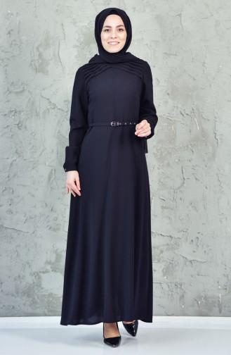 فستان بتصميم حزام للخصر 1823386-205لون اسود 1823386-205