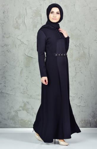 İncili Kuşaklı Elbise 4171-03 Siyah
