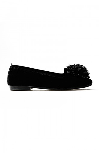 Women Suede Ballerina Shoes 0107-03 Black 0107-03