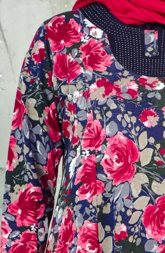 فستان بتصميم مُطبع بمقاسات كبيرة 4849-02 لون خمري 4849-02