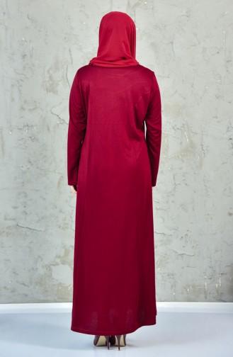 فستان يتميز بتفاصيل من الدانتيل بمقاسات كبيرة4860-08 لون خمري 4860-08