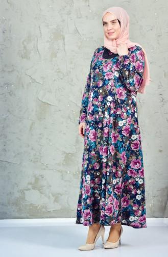 فستان بتصميم مُطبع بمقاسات كبيرة 4849-03 لون وردي باهت 4849-03