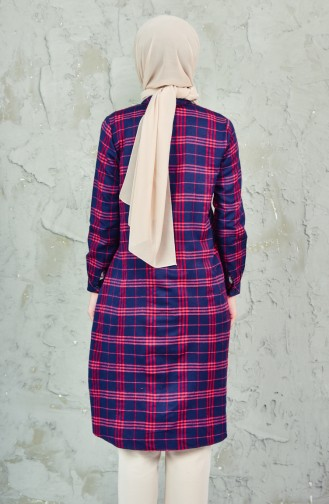 BWEST Plaid Tunic 8272-04 Navy Red 8272-04