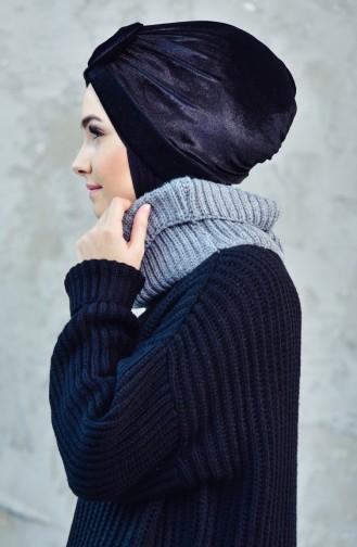 Bonnet Velours avec Noeud 0025-06 Noir 0025-06