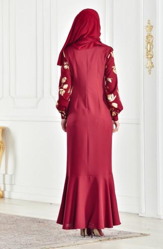 فستان بتصميم قصة واسعة 3599-02 لون خمري 3599-02