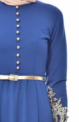 Dantelli Elbise 4462-09 İndigo 4462-09