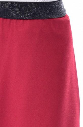 بنطال بتصميم واسع من الاسفل ومطاط عند الخصر 2004-03 لون احمر 2004-03