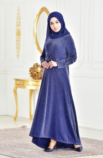 Robe de Soirée Perlées 6100-03 Bleu Marine 6100-03