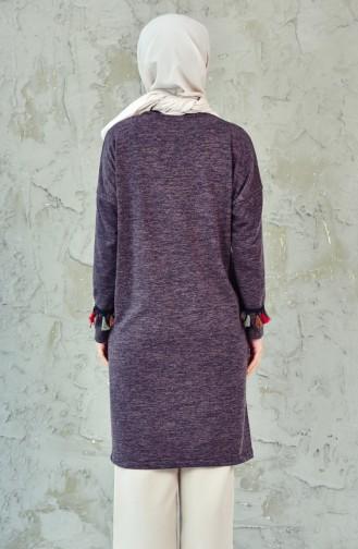 Slim Knitwear Tasseled Tunic 5057-02 Purple 5057-02