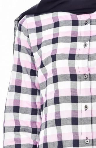 Plaid Tunic 6335-04 Pink 6335-04