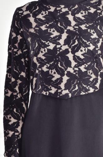 فستان بتفاصيل من الدانتيل 1513841-200 لون اسود 1513841-200