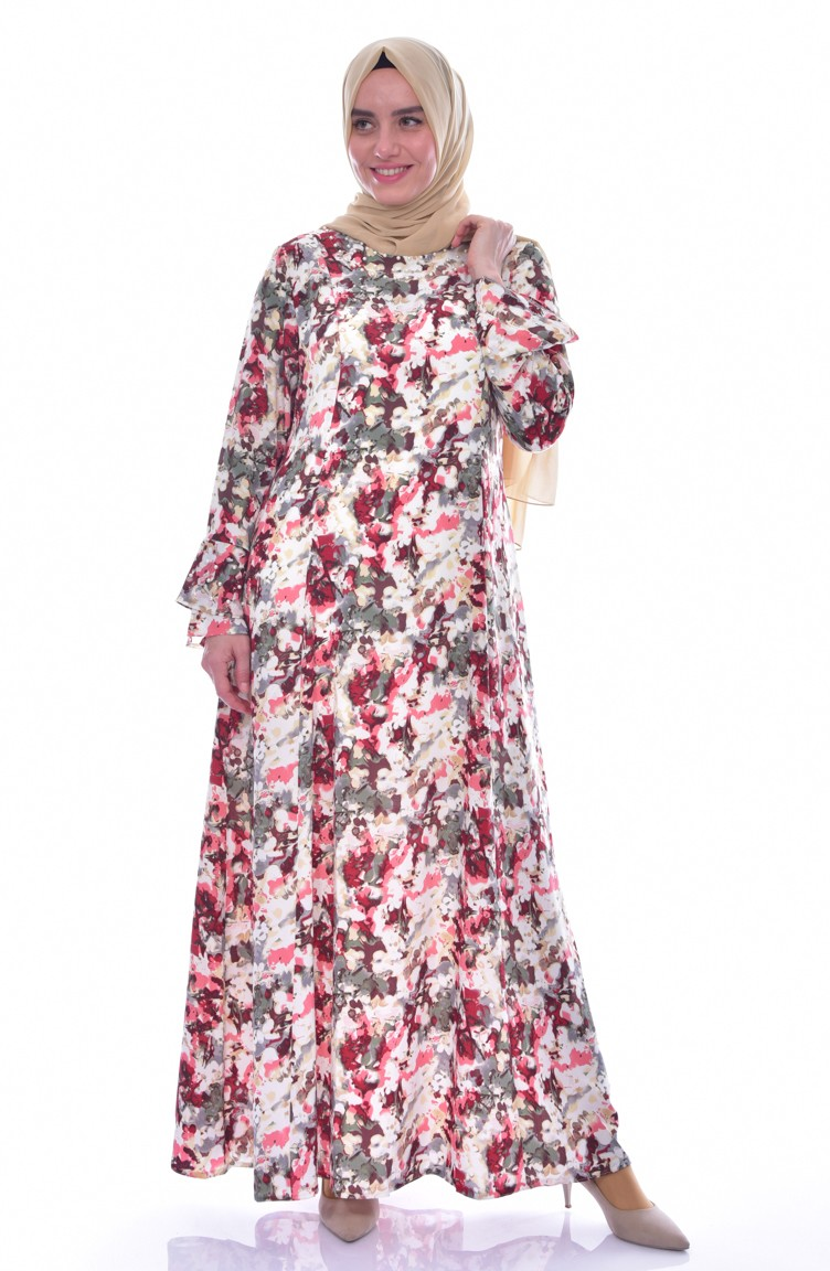 1fe3ab5f5187d Büyük Beden Desenli Elbise 1034-02 Bordo