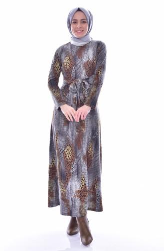 دلبر فستان بتصميم حزام للخصر 7081-01 لون رمادي 7081-01