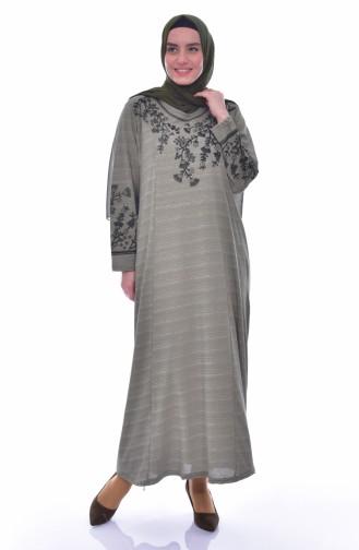 Büyük Beden Nakışlı Elbise 4828-04 Haki 4828-04
